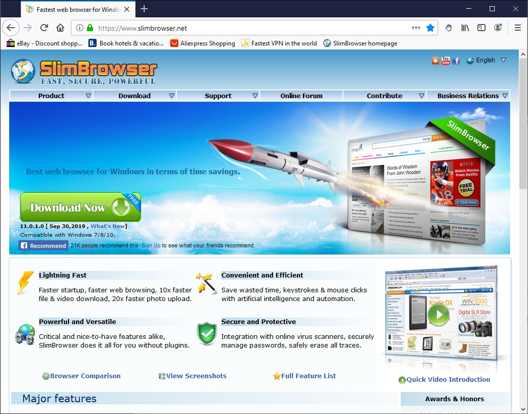Click to view SlimBrowser Portable Version screenshots